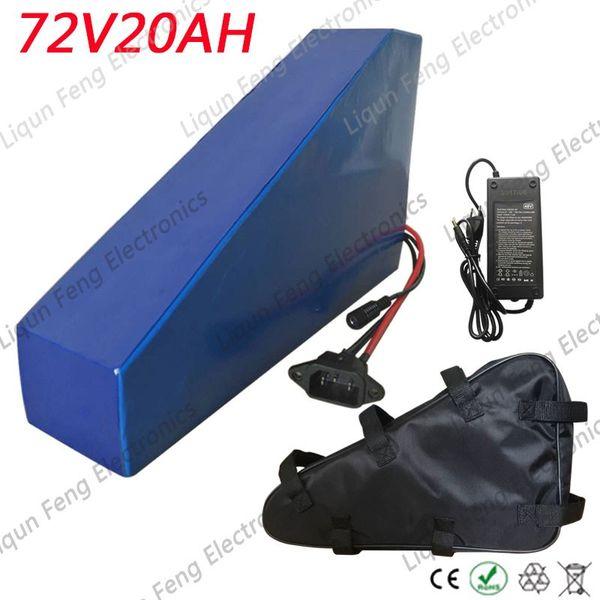 72v 20ah triangle lithium battery 72v 3000w u e lg cell lithium battery pack 72v 20ah electric bike battery with 84v charger