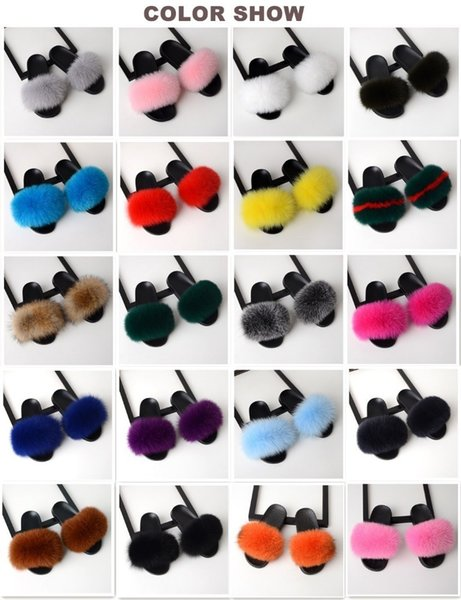 Fur Slippers Women Real Fox Fur Slides Home Furry Flat Sandals Female Cute Fluffy House Shoes Woman Brand Luxury 2019