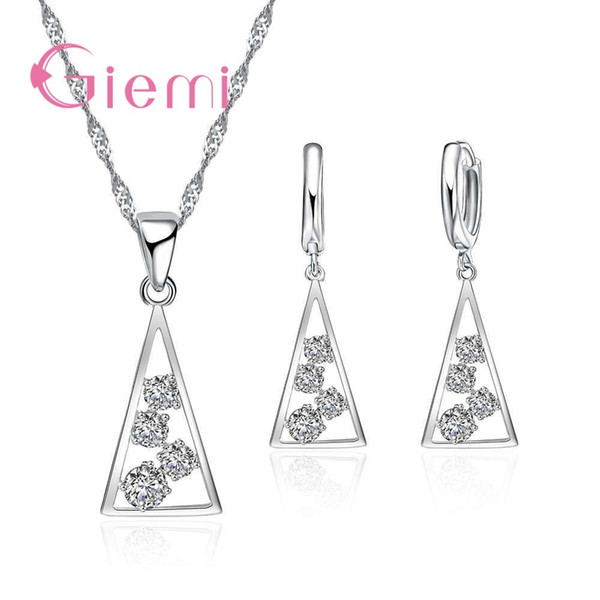 100% 925 Sterling Silver Necklace Pendants for Women Wedding Party Geometry Cubic Zirconia Hoop Earring Sets Lover Girl CX200623