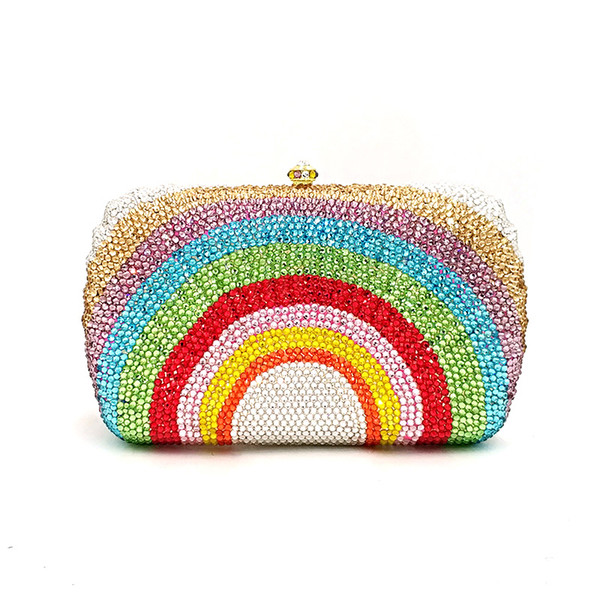 ladies special design bridal wedding party purses women evening party diamonds fashion colorful rainbow clutches crystal purses (509248495) photo