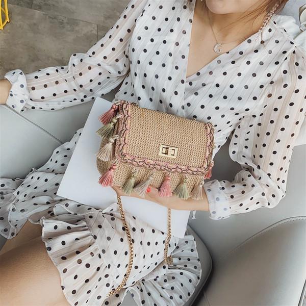 lusso donne borse del progettista handmade purses paglia per le ragazze piccole catene nappa donne messenger borse borse sac (498354469) photo