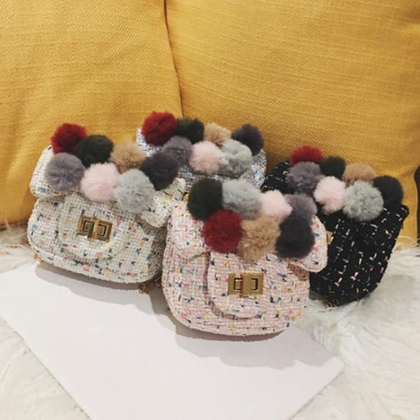 fashion girl party bag cute plush ball messenger bag princess purse soft fashion shoulder bow hair ball handbag (542668727) photo