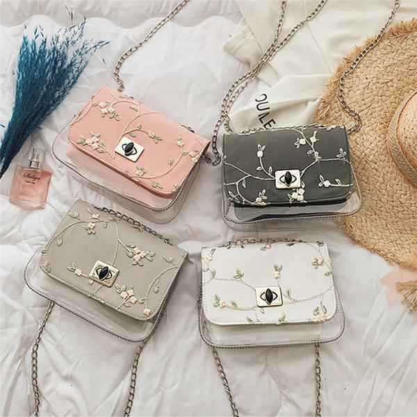 women pvc transparent clear floral corssbody shoulder bag elegant lady girl tote jelly candy summer beach purses and handbags (491759026) photo