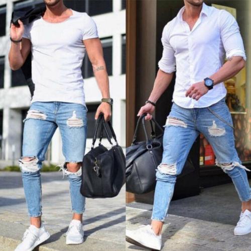 Hirigin мужская мода джинсы мужчин тощий разорвал байкер джинсы уничтожено потертые тонкий подходят брюки джинсовые байкер Жан фото