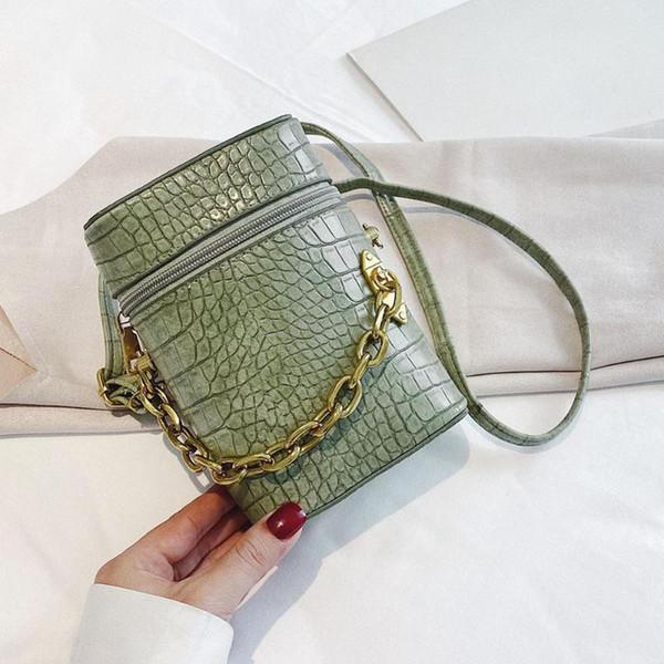 women solid bucket messenger purse retro alligator leather semicircle shoulder bags pu leather crossbody purse (546453462) photo