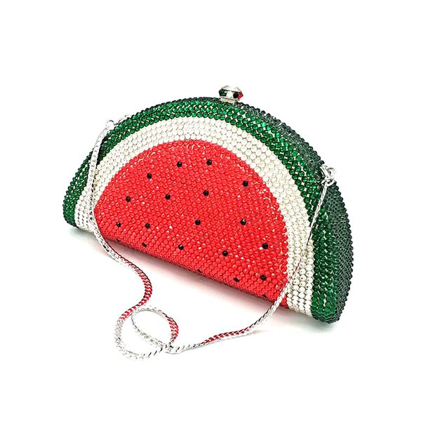 design bridal wedding party purses women evening party diamonds fruit watermelon slice clutches full crystal purses (548532199) photo