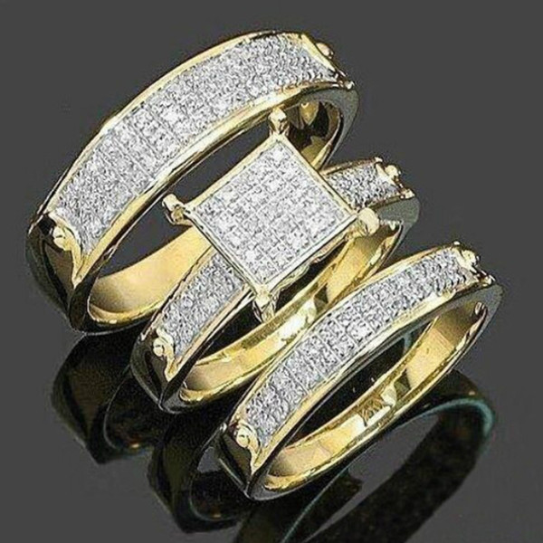 """Easter Day""Gift 3pcs Fashion Trendy Jewelry Women's 18k Gold Plated Copper Zircon Wedding Couples Ring Size 5-11#110"