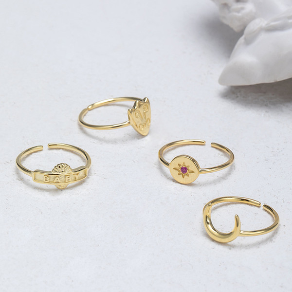 Fashion ring have s925 stamp real 925 sterling silver ring rings for women 14k gold plated ring фото