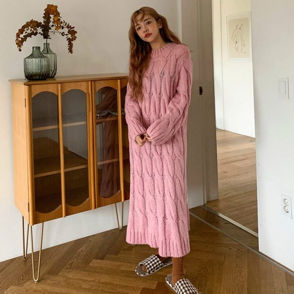 .women Spring Round Collar Twist Long Sleeve Long Sweater Dress Loose Straight Knitted Pullover Jumper Dresses Solid Color