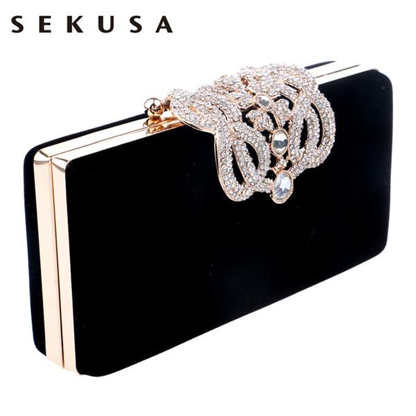 sekusa clutch evening bags crown rhinestones evening bags purse shoulder bag for wedding diamonds lady purse mini evening bags (521037125) photo