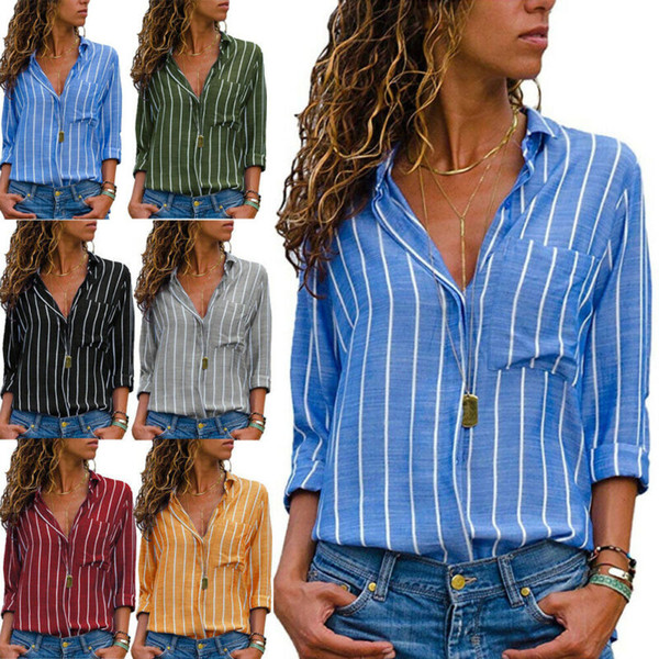 fashion women`s v-neck stripe long sleeve loose shirt ladies casual front button blouses