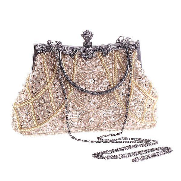 vintage evening beaded bags white silver wedding bags for bride women messenger party handbags elegant handmade clutch purses (519924176) photo