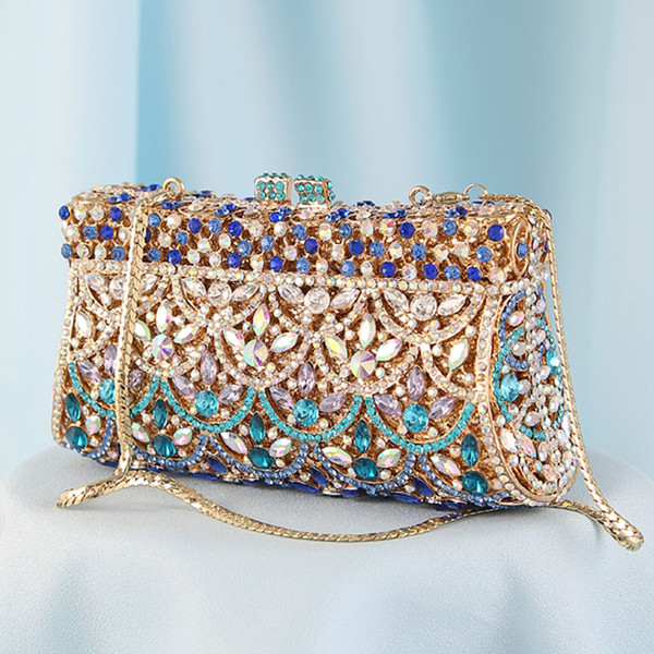 ladies casual fashion handmade diamond dress tote girls colourful crystal evening bags women clutches purses for wedding parties (519403223) photo