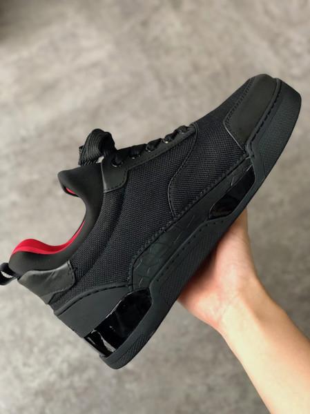 Модельер обувь Шипы Aurelien плоские кроссовки Красное дно обувь мужчины черный Aurelien