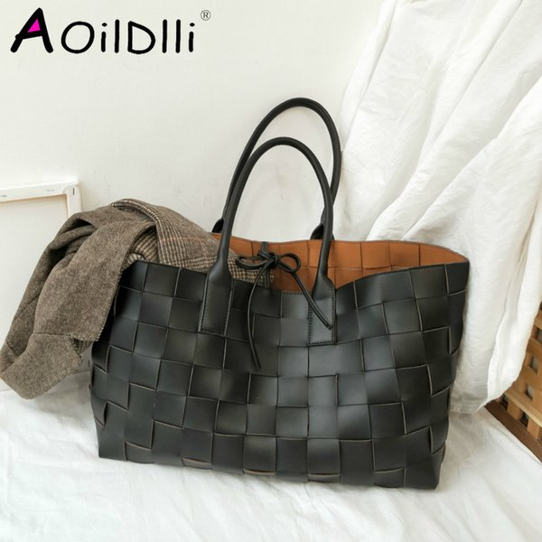 new designer handmade woven handbags women large capacity tote shopping bags faux leather shoulder bag big purses (524030252) photo