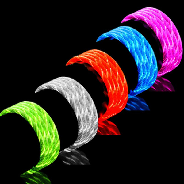 Led cable flowing vi ible light u b data  ync charging type c micro v8 5pin cable  cable for  am ung  8  9  10 note 8 9 htc lg