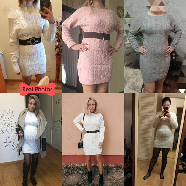 Февраль Марка Дизайнер Nadafair Вязаная Теплый свитер платье Женщины Vestidos Bodycon мини с длинным рукавом Белая осень платье женщина фото