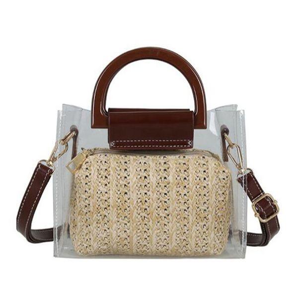 women clear bags summer straw crossbody shoulder bags two piece women transparent handbag clutch purse (524771797) photo