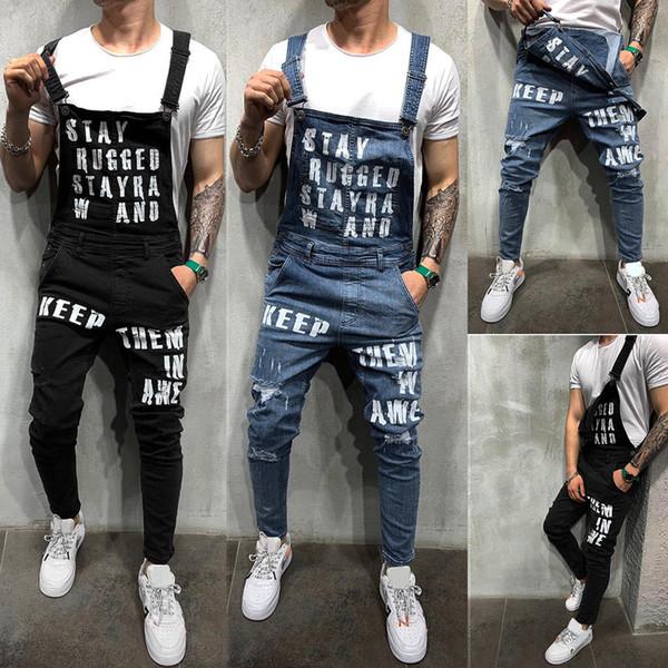 2019 Fahsion mannen Casual Losse Pocket Overalls Comfortabele Denim Jumpsuits Bib pants Plus Big Size Jeans Man Blauw Broek