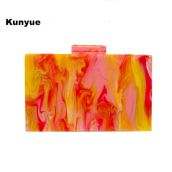 20new trendy stylish marble orange pink acrylic evening bag cute girl party prom clutch purse wallet shoulder chain chic handbag (522923999) photo