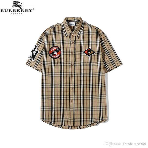 Brand mens designer short sleeve shirts firmate dress shirts fashion casual luxury shirt plaid shirt homme button up 015 фото