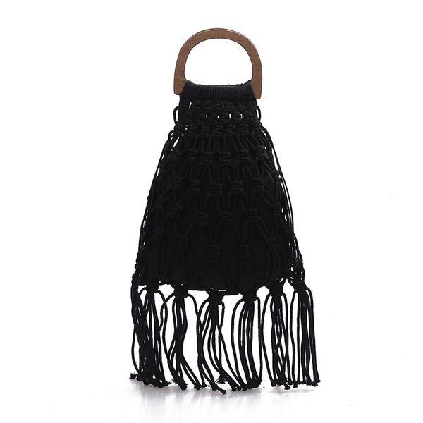handmade cotton woven wood handle womens handbags and purses hollow rope tassel beach female net straw tote evening clutch bag (476836314) photo
