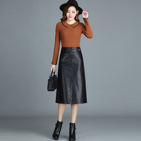 100% Real Sheep Leather Women Elegant Genuine Leather Skirt Empire Autumn Spring Midi Skirts Ladies A-Line Knee-length Bottoming