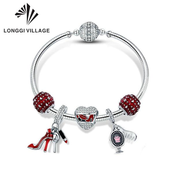 livraison_gratuite_argent_sterling_925_émail_rouge_coeur_femmes_chaussures_bracelets_cosmétiques_bracelets_pour_femmes