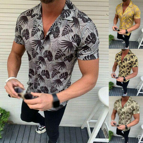 men casual style shirts short sleeve length single breasted closure type print pattern v-neck collar regular sleeve length
