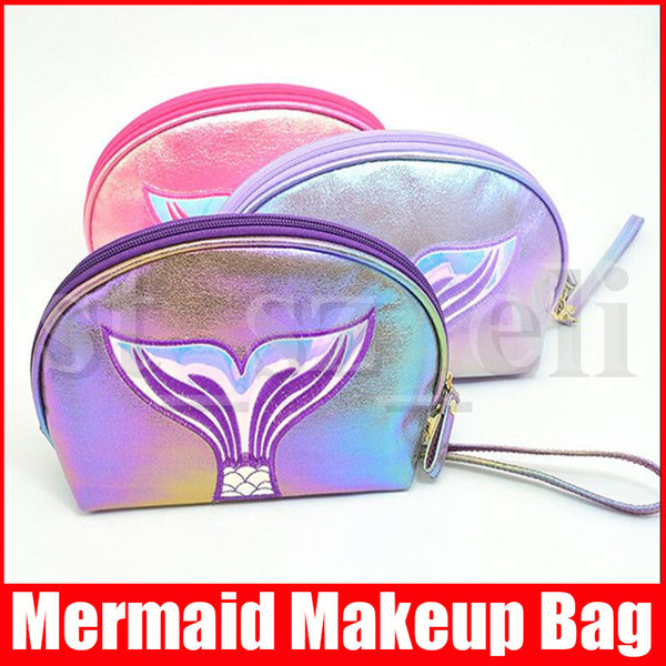 7 colors simple fashion style makeup bags mermaid sequin purse handbag cosmetic bag colorful women girl make up bags (430764353) photo
