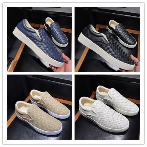 Итальянская дизайнерская обувь Bianco Intrecciato Nappa Sneaker модная мужская одежда без рукавов Эластичная резиновая подошва Мокасины из ткани с рисунком Причинная обувь