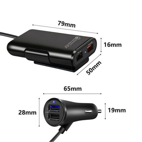 4 port usb passenger car charger extending usb hub front and backseat for phone