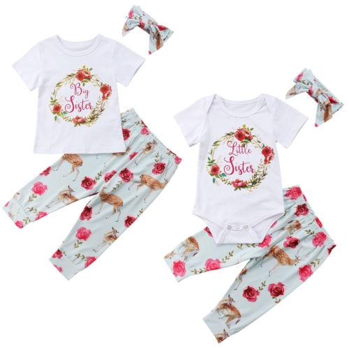 New Adorable Baby Girl Sister Floral Clothes Set Kids Girls Romper Tops T-shirt Long Pants Toddler Outfits Children Clothing New Adorable Baby Girl Sister Floral Clothes Set Kids Girls Romper Tops T-shirt Long Pants Toddler Outfits Children Clothing