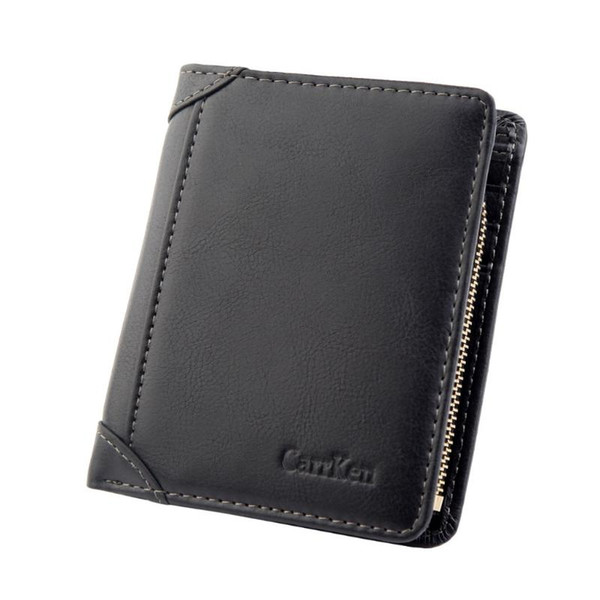 wallet short men wallets purse card holder wallet fashion zipper coin bag multi card case organizer coin purse #r5 (524274599) photo