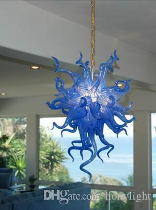 Новые Hot Sale Art Decor Blue Glass Люстра Освещение люстры из муранского стекла ручной выдувное стекло LED освещение канделябра фото