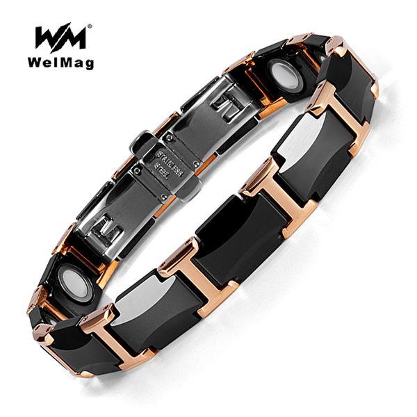 welmag_énergie_bracelets_magnétiques_santé_mode_noir_bracelets_en_céramique_unisexe_bracelets_wristband_luxe_bijoux_cadeaux_d'amitié