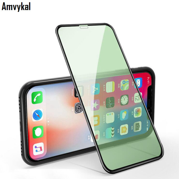green light tempered glass for iphone 11 pro max xr xs max 6s 7 8 plus screen protector full cover eye protection film