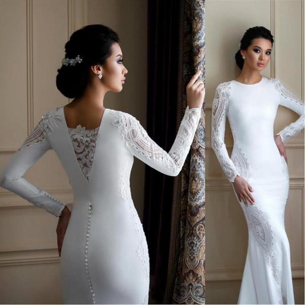 2020 Modest с длинным рукавом Русалка Свадебное платье Кружева Аппликации атласные ра фото