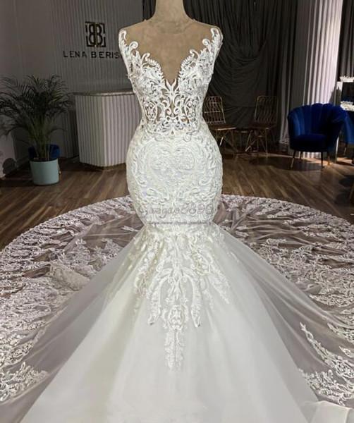 2019 сексуальные русалка свадебные платья часовня поезд 3D кружева аппликации шеи ж фото
