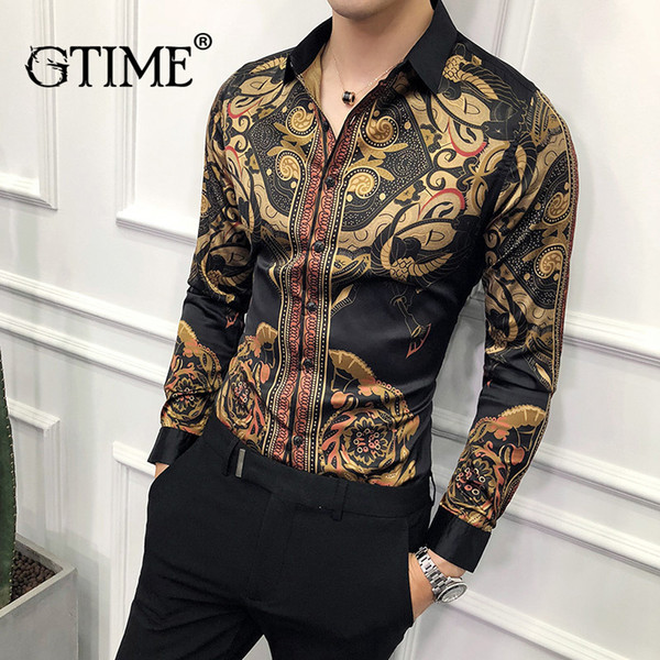 Gtime Dropshipping Gold Black Shirt Men 2019 New Slim Fit Long Sleeve Chemise Homme Social Men Club Prom Shirt ZS36 фото