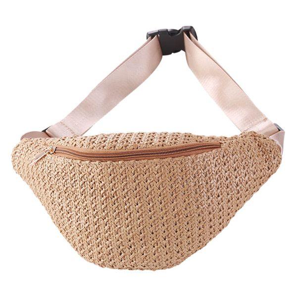 straw women waist pack bag belt female handmade rattan design summer beach bags travel fanny pack girl chest purses khaki (492291674) photo