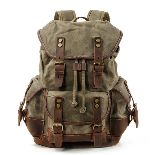 Новый Топ Большой Емкости Кожаный Холст Рюкзаки Для Мужчин Школьные Сумки Старин