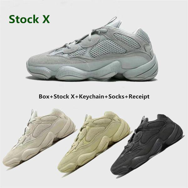 Top quality mens shoes 500 Salt EE7287 Blush Desert Rat 500 Super Moon Yellow running shoes 500 Utility Black sneaker sports shoes