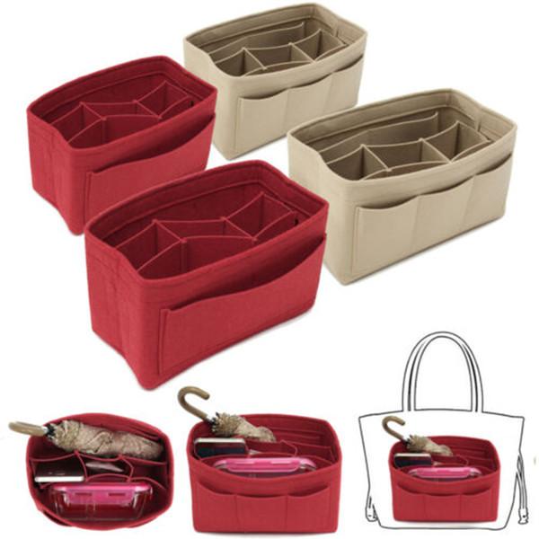 makeup bag purse organizer felt bag insert organizer multi-pockets detachable purse k-best (500397399) photo