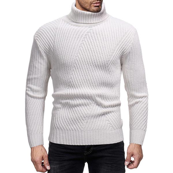 Поверните Вниз Шеи Мужчины Зима Вязаный Сплошной Свитер Теплая Мода Полушерстяные Тепловой Свитер Мода Пуловер фото