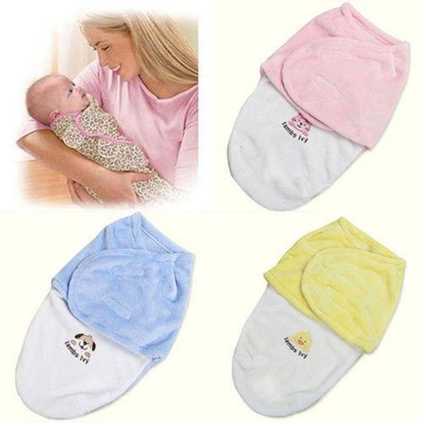 0-3m Newborn Kids Baby Boy Girl Warm Cotton Swaddling Blanket Sleeping Bags Swaddles Warp Cartoon Sleeping Bag Blue Yellow Pink