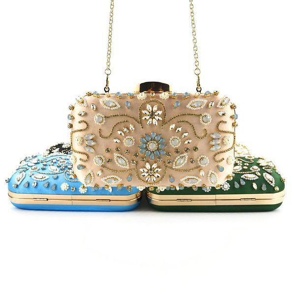 fashion evening bags diamond rhinestone pearls handmade beaded day clutch women's purse handbags purse party wedding bag (466559725) photo