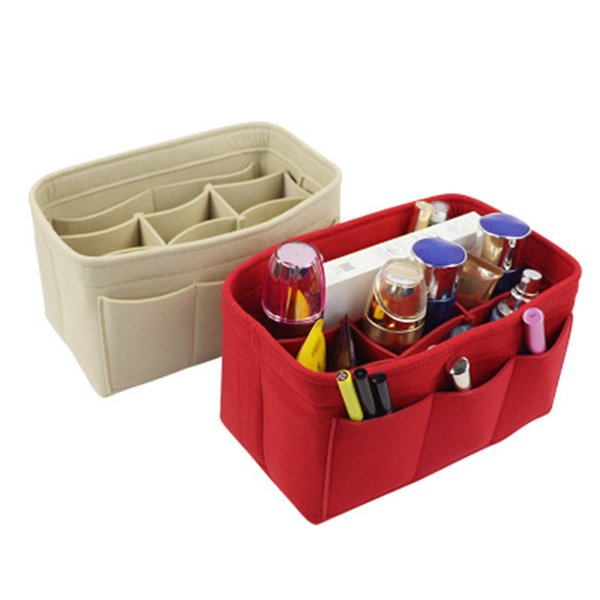 makeup bag purse organizer felt bag insert organizer multi-pockets detachable purse c55 (500398829) photo