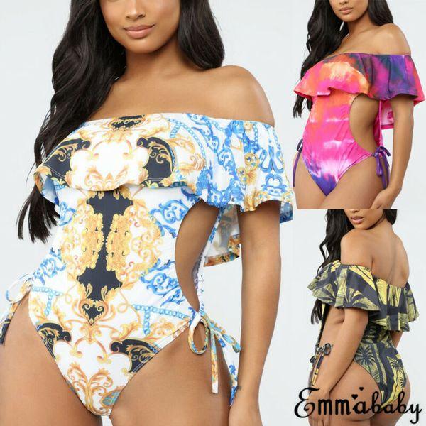 brazilian swimwear plus size swimsuit monokini bathing suit bikini padded floral ruffles bikini bathing suit