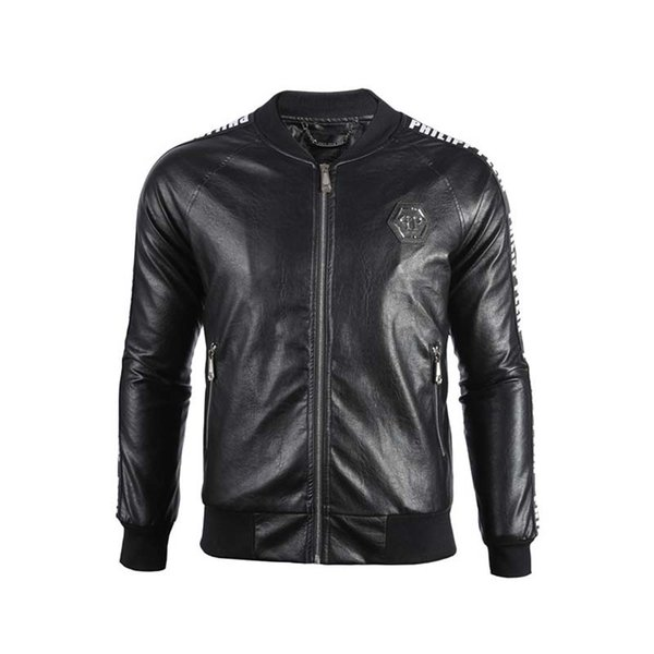 2019 Men's jackets brand P men skulls Leather jacket hip hop Casual coat High Quality mens fashion luxury Fitness clothing Asia Size M-3XL